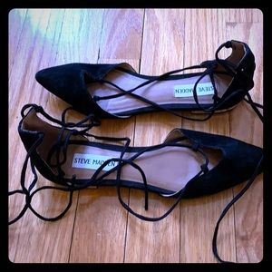 Steve Madden lace up flats: black suede. Size 6.5